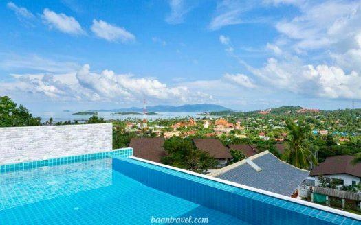 Трехспальная вилла с личным бассейном и красивым видом в районе Биг Будда на острове Самуи