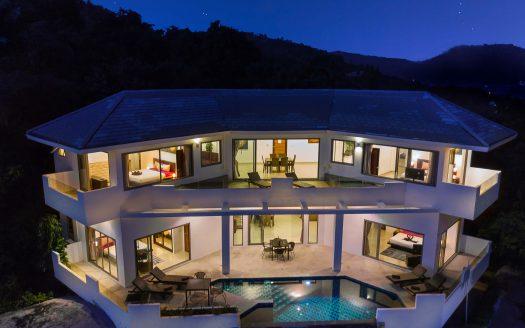 Вилла с 4 спальнями и видом на море в районе Ламай в аренду на Самуи