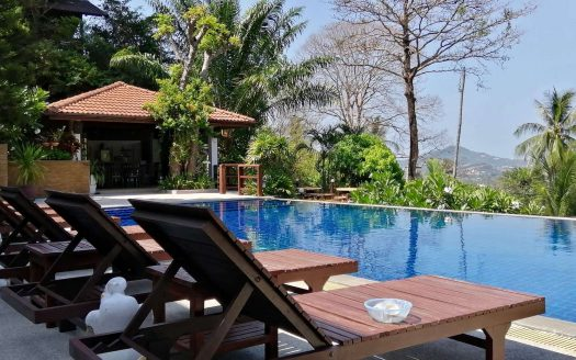 Hotel on the mountain with panoramic views for sale in Samui