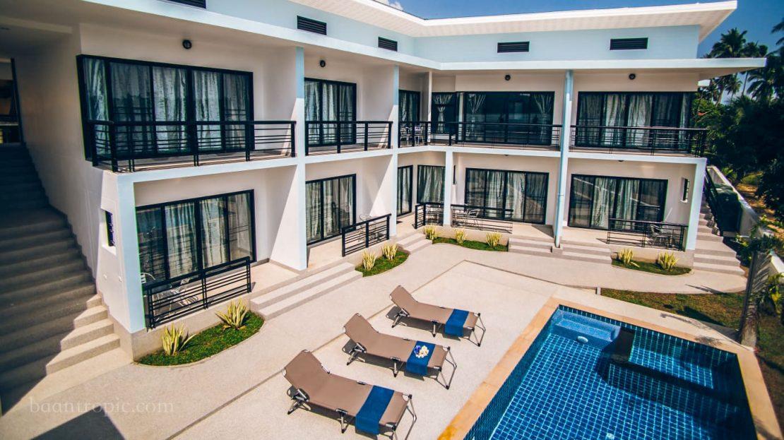 Односпальные апартаменты с общим бассейном в районе Бо Пхут в аренду на Самуи