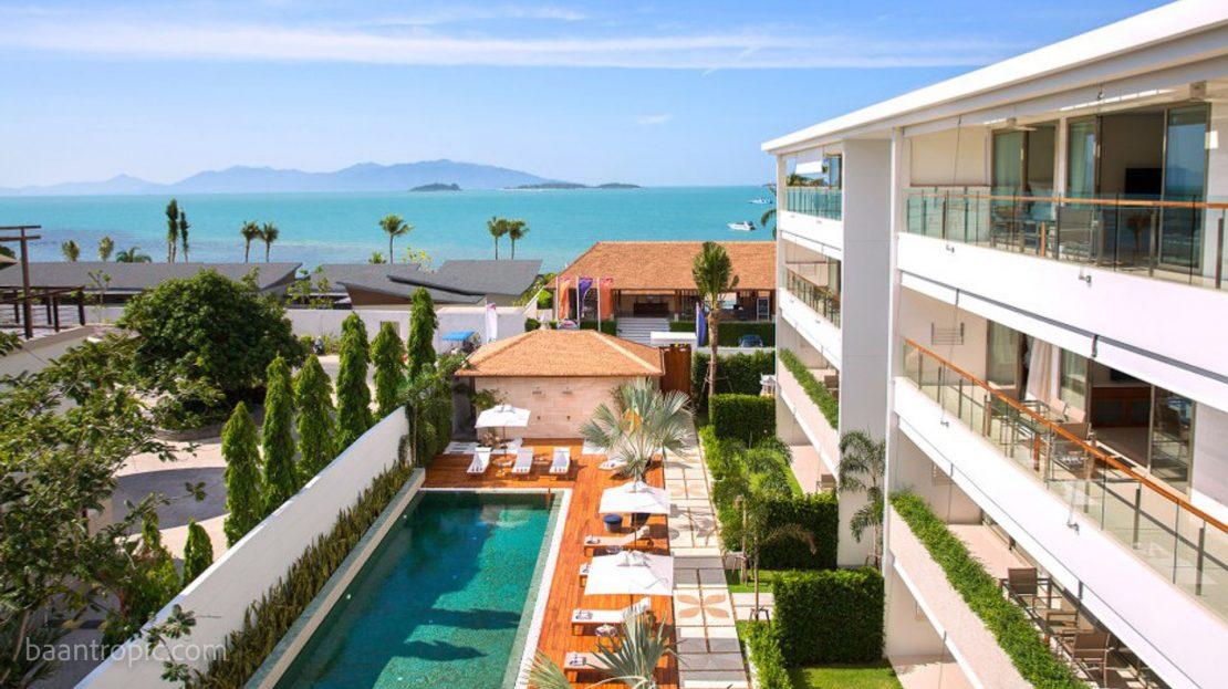 Апартаменты c 2 спальнями в бутик-комплексе на пляже Банг Рак в аренду на Самуи