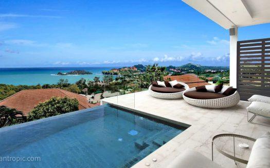 Вилла с 4 спальнями и панорамным видом на пляж Чонг Мон в аренду на Самуи