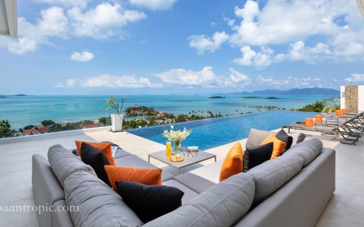 4 cпальная вилла с видом на море на острове Самуи